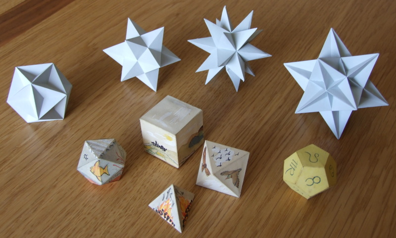 Models of polyhedra: stellated icosahedra and others